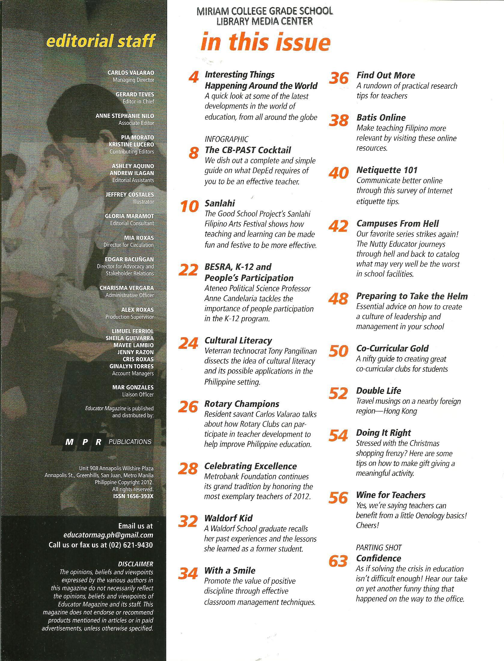 Educator Magazine November-December 2012 Table of Contents ...