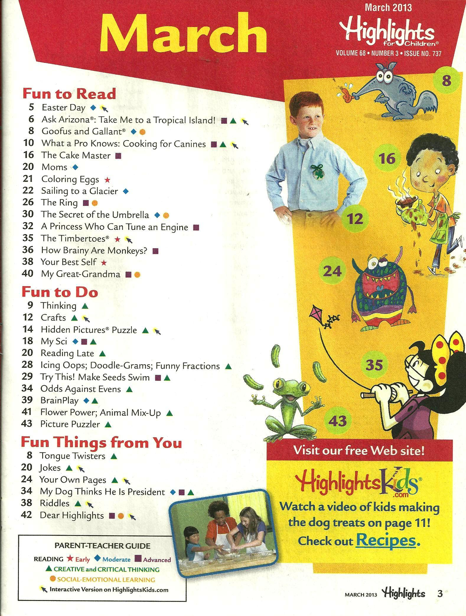 Highlights for Children March 2013 Volume 68 Number 3 Issue Number