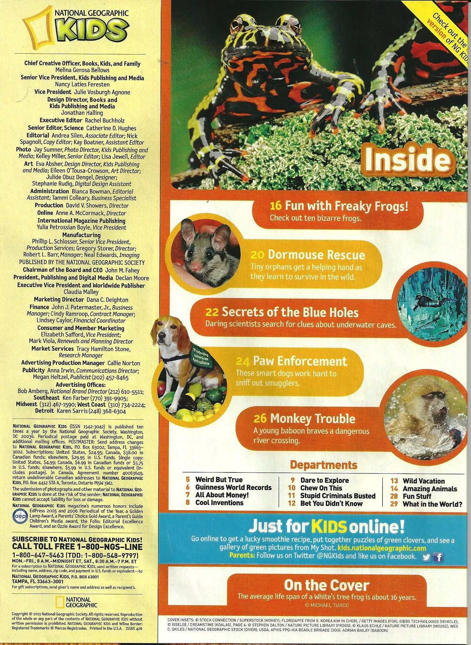National Geographic for Kids March 2013 Table of Contents Library
