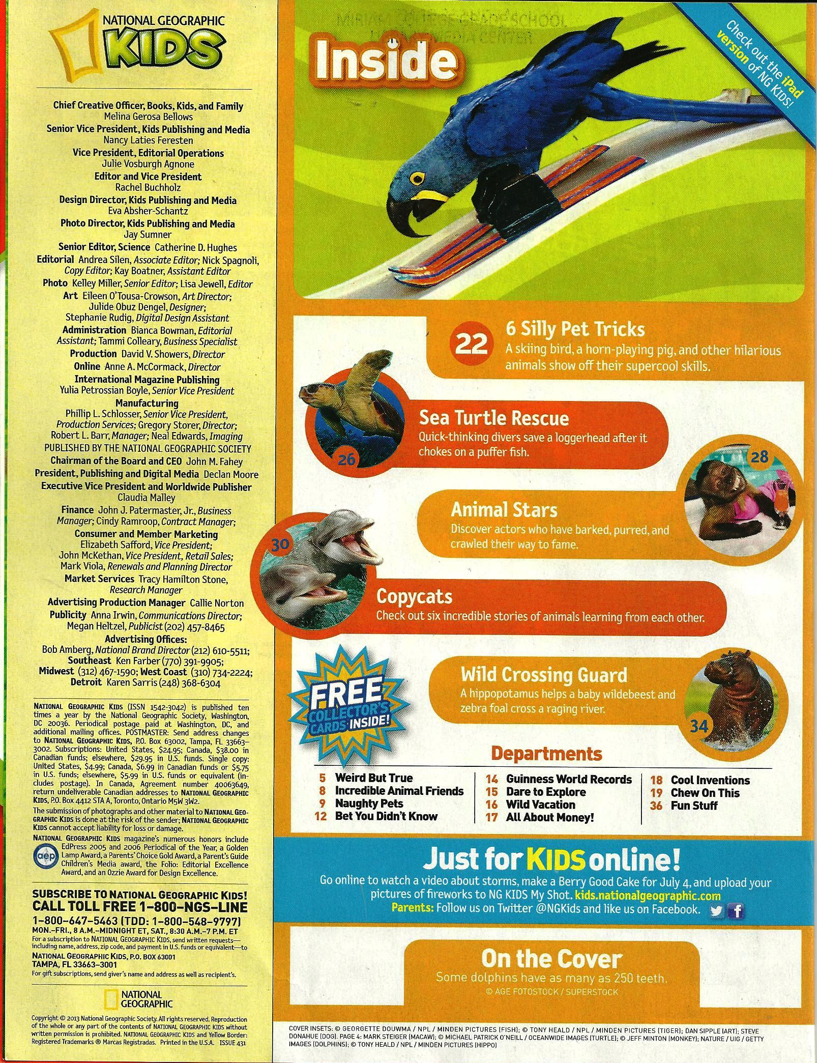 National Geographic for Kids June July 2013 Table of Contents