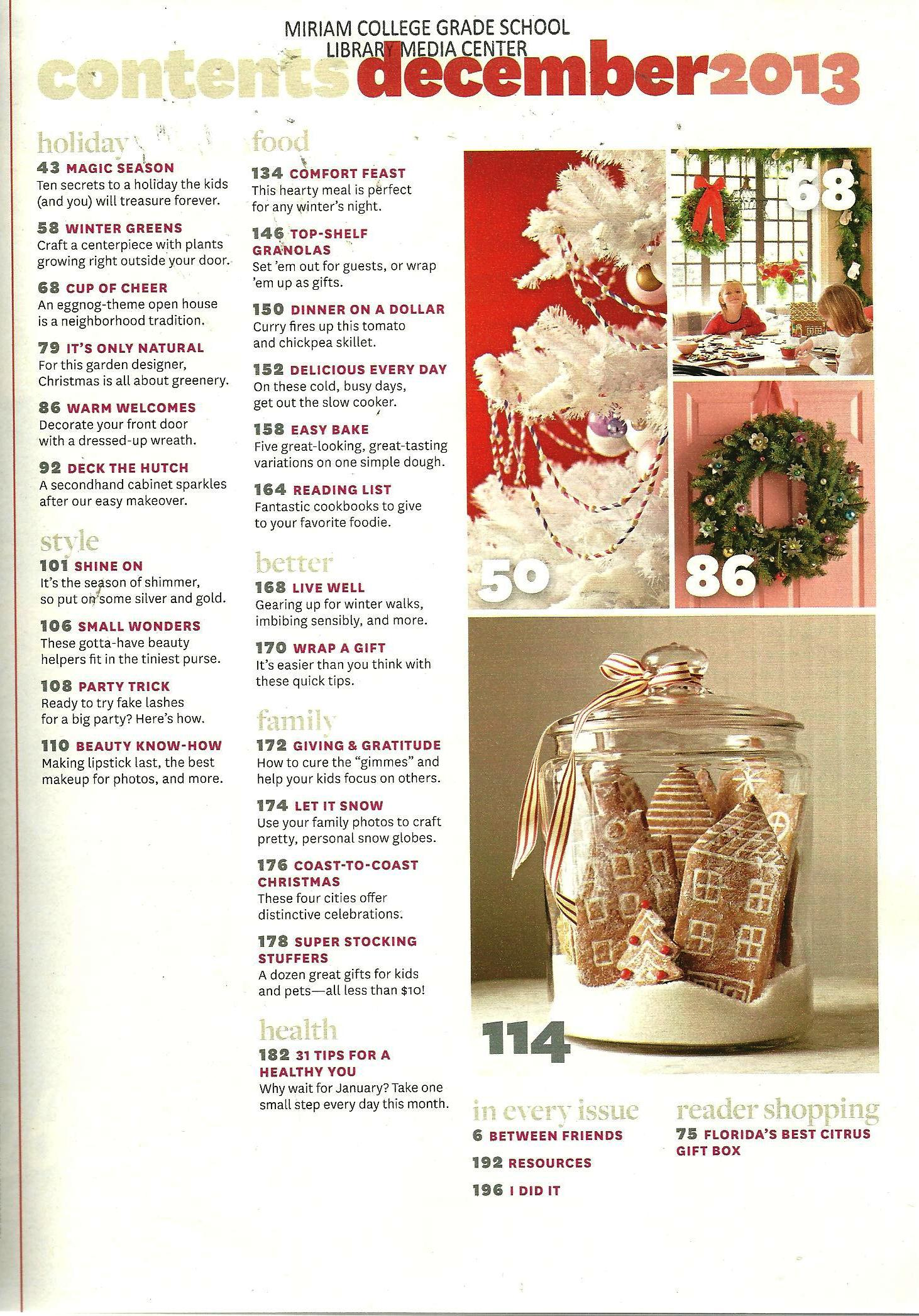 Better Homes and Gardens December 2013 Volume 91 Number 12 Table of ...