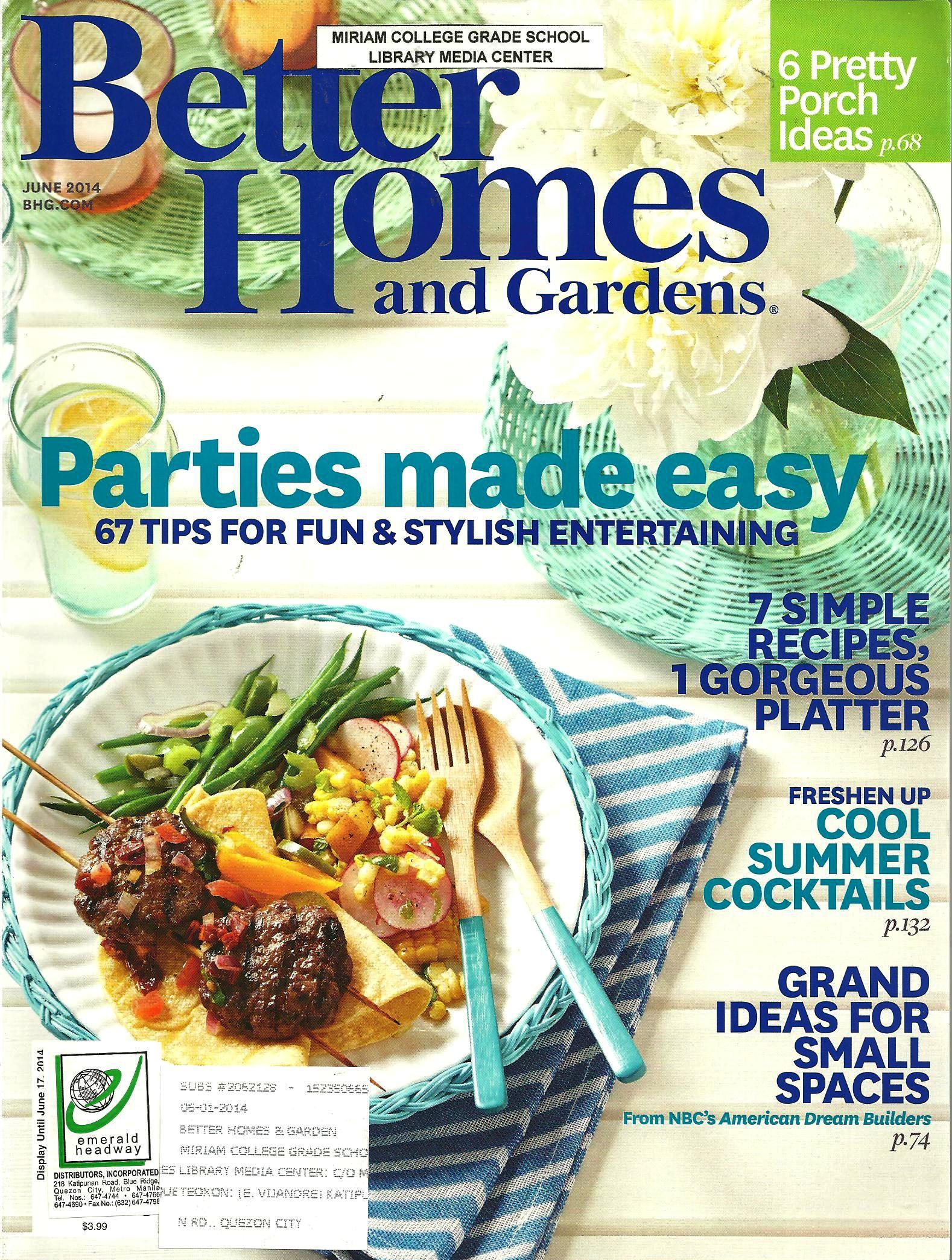 better homes and gardens june 2014 volume 92 number 6 1