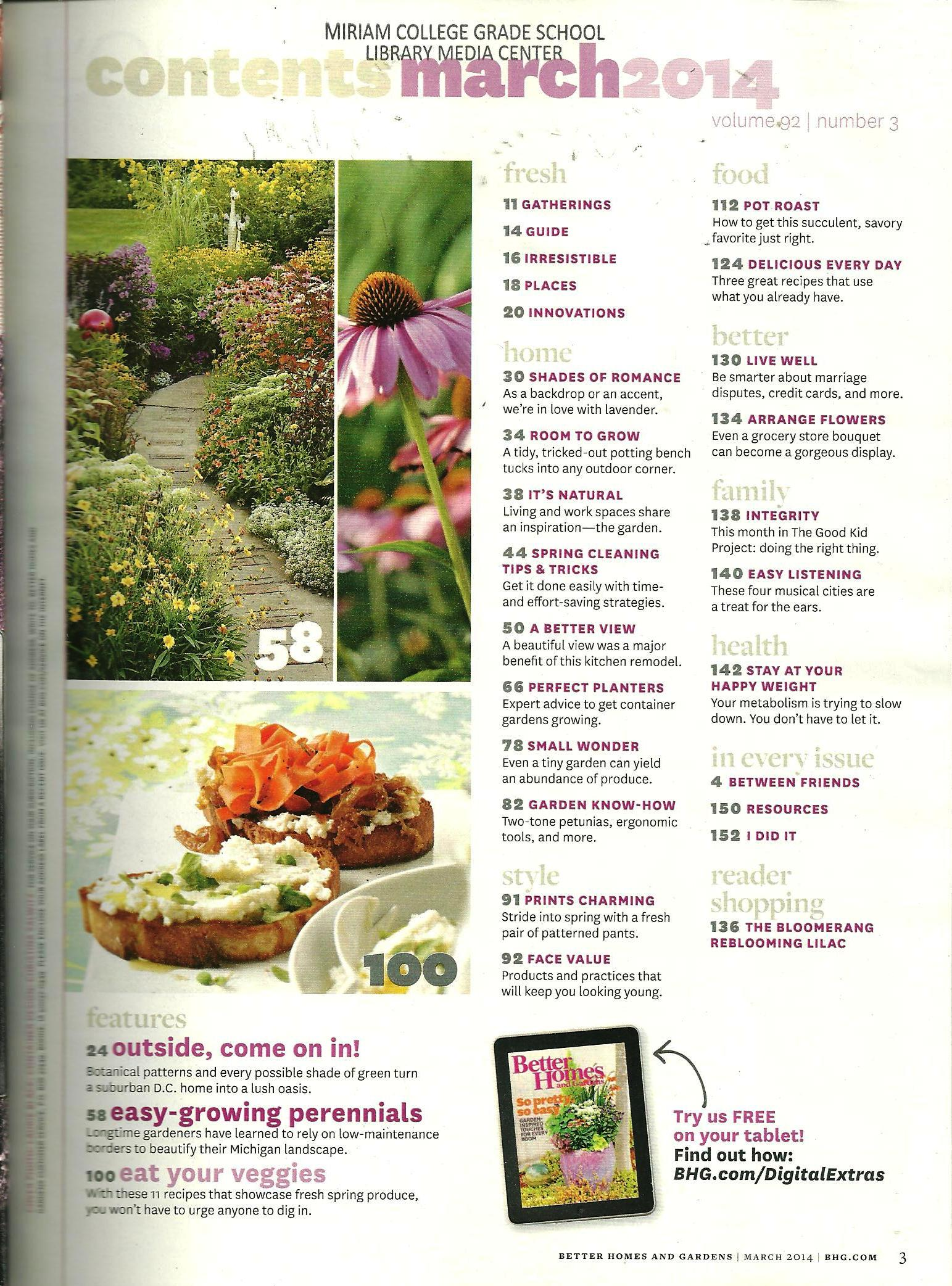 Better Homes And Gardens March 2014 Volume 92 Number 3