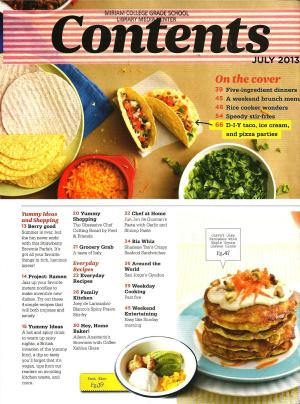 Yummy July 2013 Table of Contents